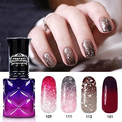 Perfect Summer 4PCS Colour Changing Gel Nail Polish Collection Soak Off UV LED Manicure Salon Set 8ML 01