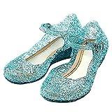 Taglia 34 - Scarpe con Tacco Zeppa e Cinturino - Elsa - Anna - Cenerentola - Principessa - Bambina - Suola 20 cm - Colore Blu con Glitter - Carnevale - Halloween - Cosplay - Idea regalo Compleanno