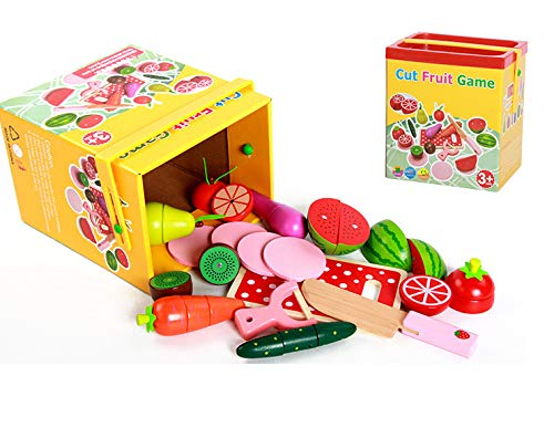 Three Horses Wooden Cutting Food Magnetic Fruits Vegetables Kitchen Set Educational Toy for Preschool Age Kids Toddlers Boys Girls 3 4 5 gifts