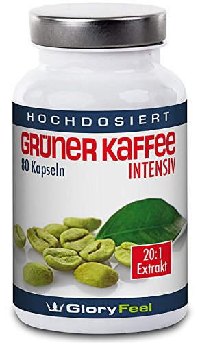 GloryFeel Grüner Kaffee Kapseln Intensiv | Hochdosiertes 20:1 Extrakt aus den Original grünen Kaffeebohnen | 1.600mg reines Green Coffee Extract + 24mg Vitamin C pro Tagesdosis