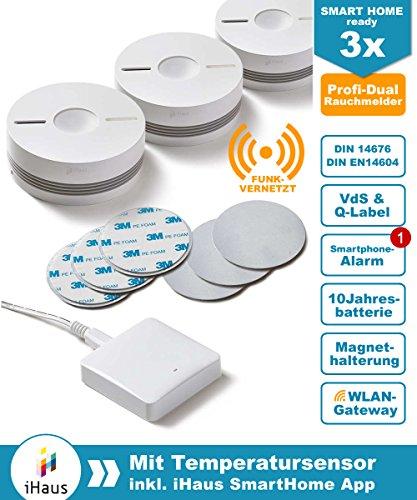 Rauchmelder 3er Set (VdS - DIN EN 14604) - Dual und Funk Vernetzbar + WLAN Gateway + Magnethalterung + Lithium 10 Jahres Batterie von iHaus Smart Home