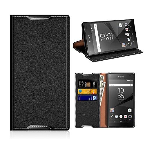 MOBESV Sony Xperia Z5 Hülle Leder, Sony Xperia Z5 Tasche Lederhülle/Wallet Case/Ledertasche Handyhülle/Schutzhülle mit Kartenfach für Sony Xperia Z5 - Schwarz