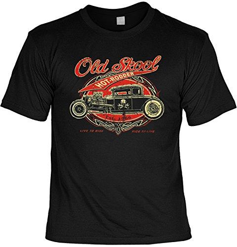 (Cooles Hot Rod Motiv Us-Cars / Oldtimer : Old Skool Gearhead Hot Rod - Rockabilly T-Shirt Größe: L Farbe: schwarz)