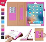 iPad Pro 9.7 Case, iPad Pro 9.7 Cover, Fyy [Super Functional Series] Premium PU Leather Case Stand Cover with Card Slots, Note Holder, Quality Hand Strap and Elastic Strap for Apple iPad Pro 9.7 inch (2016 Edition) Pink (With Auto Wake/Sleep Feature)