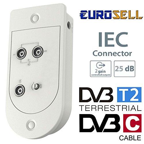 Eurosell - Kabel Fernsehen TV CATV Zweigeräteverstärker - Highend Full HD Digital TV-Verstärker 25dB mit 2 Ausgängen und Verstärkungsregelung - für Kabel Fernsehen zb Unitymedia Kabel BW Etc