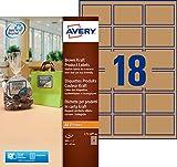 Avery 360 Etiquettes Autocollantes Couleur Kraft (18 par Feuille) - 62x42mm - Impression Laser, Jet d'Encre (L7110)
