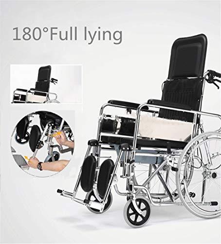 BUDAOWENG Sedia a rotelle semovente, Leggera, di Facile utilizzo, Resistente e Regolabile in Altezza, sedili rialzati, Posizionamento delle Ruote, Sedia da Viaggio Portatile,Black