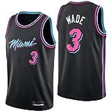 Shelfin - Camiseta de baloncesto de la NBA de Miami Heat del número 3 Wade, transpirable, grabada, color Negro D, tamaño Smal