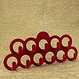 #6: AVMART Set of 1 Red Velvet Belt, Scarf, Stole, Clothes Hanger 11 Clips (30 cm)