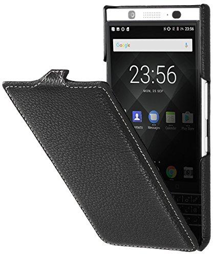 StilGut UltraSlim Case Hülle Leder-Tasche für BlackBerry KEYone. Dünnes Flip-Case vertikal klappbar aus Echtleder für das Original BlackBerry KEYone, Schwarz