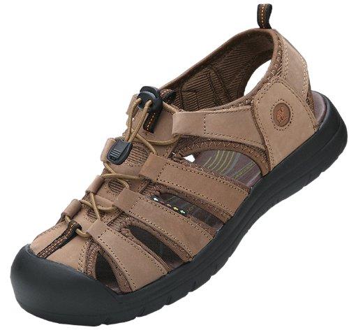 Dayiss® Herren Jungen Leder Sandalen Sport- & Outdoor Schuhe Sandaletten (41, Kamelfarbe)