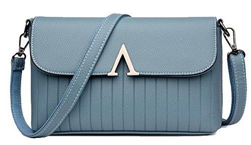AgooLar Damen PU Cross-Body-Handtaschen Arbeit Ranzen-Stil Tragetaschen,GMLBB181709,Blau