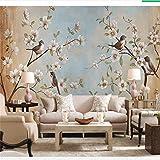 Lifme Benutzerdefinierte Fototapete Wandbild 3D Blume Vogel Pfirsich Ölgemälde Wohnzimmer Schlafzimmer Hintergrund Wallpaper Für W 3 D-200X140Cm