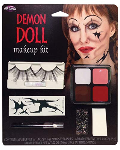 Horror Puppe Make-up Kit für Halloween, Gothic Party & Grusel Motto Party
