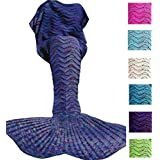 DDMY Mermaid Tail Blanket Adult Crochet Mermaid Tail Blanket Seasons Mermaid Blanket Adult Warm Soft Living Room Quilt Sleeping Bag Best Birthday Christmas gifts For Kids Adult (A-Blue)