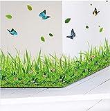 Likeai Wandaufkleber% Frühling Bunte Blume Gras Schmetterling Baseboard DIY Familie Applique Boden Aufkleber Küche Bad Möbel Hochzeit
