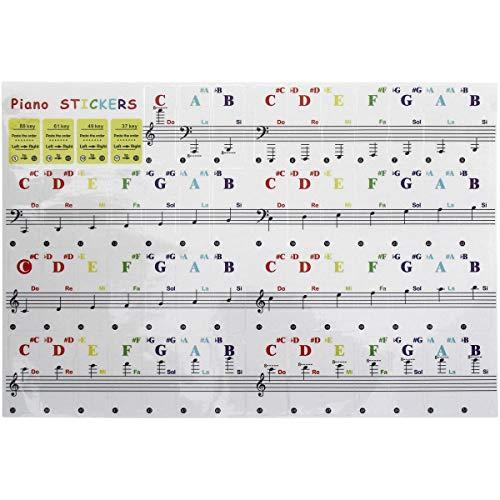 iGadgitz Home U7023 - selbstklebende Keyboard Noten Aufkleber, Piano Sticker, Klavier Aufkleber - passend für 37/49/61/88 Taste Keyboards oder Klaviere - Mehrfarbig