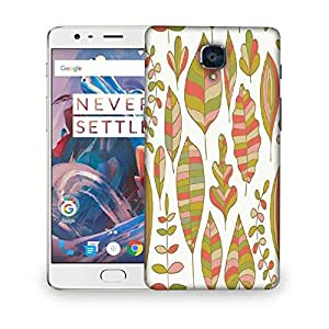 Snoogg Colorful Leaves White Designer Protective Phone Back Case Cover For OnePlus Three