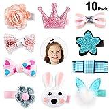10 PCS Mollette per Capelli Bambina, Rymall fermagli capelli colorati per bambina neonata fiocchi capelli bambina grandi
