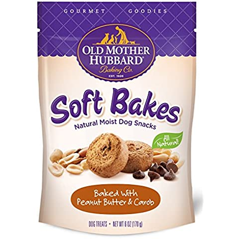 Old Mother Hubbard Gourmet Goodies Soft Bakes Natural Dog Treats, Peanut Butter & Carob, 6-Ounce Bag by Old Mother Hubbard