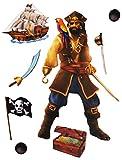 8 TLG. Set _ Wandtattoo / Sticker -  Pirat & Piratenschiff  - Wandsticker + Fenstersticker - Aufkleber für Kinderzimmer - Säbel Schatztruhe - Kinder - Wanda..