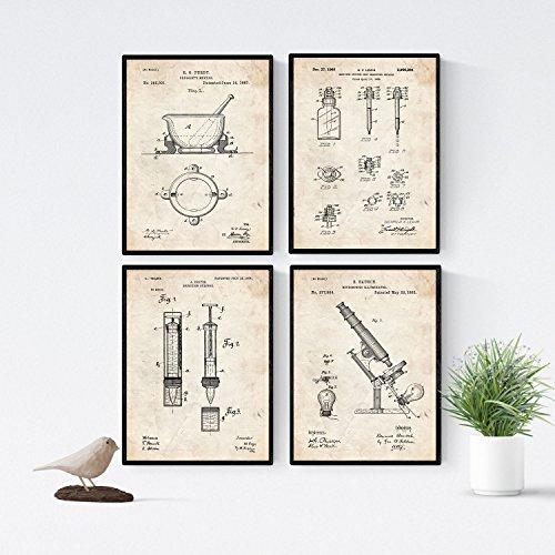 Alte Apotheke Apotheke (Nacnic Vintage - Packung mit 4 Blatt mit PATENTEN APOTHEKE. Stellen Sie Plakate mit Erfindungen und Alten Patenten. Wählen Sie die Farbe, die Sie mögen. Gedruckt auf hochwertigen 250 Gramm)