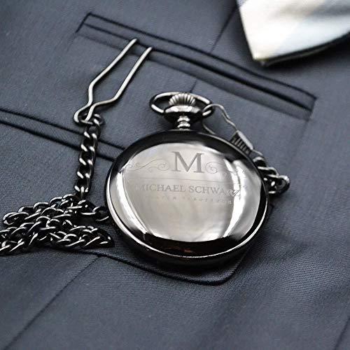 Taschenuhr mit Gravur Bester Trauzeuge   Farbe Schwarz
