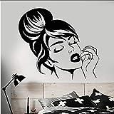 Myvovo Autocollant Mural Vinyle De Mode CréativeBelle Fille Visage Coiffure Maquillage Autocollants 560 * 57Cm