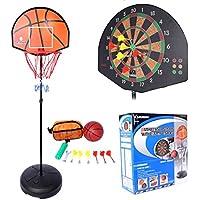 Lommer - Aro de baloncesto, 153 – 172 cm, ajustable, 2 en 1, soporte de baloncesto y aro, con tablero de dardos de pie para interiores y exteriores, juego de juguetes para niños y adolescentes, con tablero y dardos