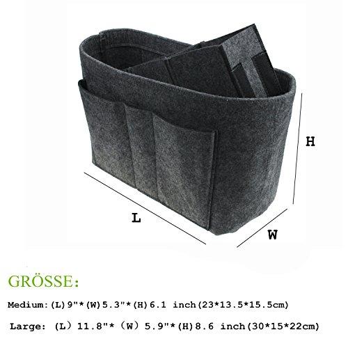 """COKOO-Tragbare Multifunktions Filz Geldbeutel Organisatoren, Einsatz Handtaschen Organisator Tasche in Der Tasche (L)9""""*(W)5.3""""*(H)6.1 INCH, Braun) Grau"""