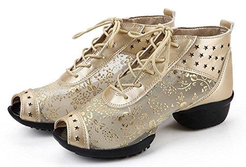 SHIXR Frauen Jazz Modern Square Dance Mädchen Sandalen Peep Toes Spitzen Turnschuhe Schuhe Bequeme Social Dance Schuhe Sport Gold Silber Schwarz golden