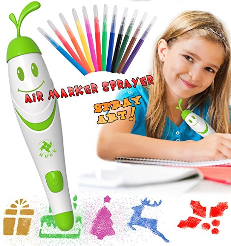 Airbrush Stifte für Kinder, 12 Stück bunter Stift Kinder Malen und Zeichnen Kit Waschbare Marker mit Elektrische Sprühfarbe Pen Spray Art, Luftmarkierungs-Sprayer-Set für Kinder, Spielzeug, Kunst für Kinder, Kunst und Handwerk für Jungen Mädchen (Grün)