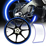 eMotorcycleUSA 16/17/18/19inch Reflective Rims Tape/Wheel Rim Decal Stripes Sticker Glowing Blue