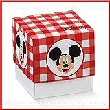 Ingrosso e Risparmio Schön und sparen Sie 12 Kartonschachteln für Konfetti mit Basis und Deckel mit roten Quadri mit Mickey Mouse, von Disney, zum Öffnen, Konfitüren Original Compleanno