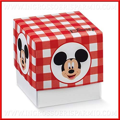 12 scatoline in cartoncino per confetti con base e coperchio a quadri rossi con mickey mouse, firmate disney, aprifesta, confettate originali compleanno bambino (senza confezionamento)
