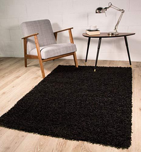 The Rug House Alfombra Lujosa de Pelo Suave, Color Negro, Negro, 60 x 110 cm