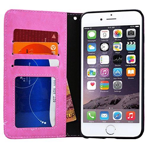 GrandEver iPhone 6/iPhone 6S Hülle Lederhülle Schutzhülle Retro Handytasche Scratch Ledercase Ledertasche Umschlag Stil Flip Cover Wallet Case mit Weiche Silikon Schale Innere Tasche für iPhone 6/iPho Rosa