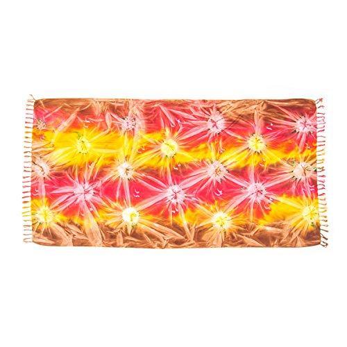 MANUMAR Mujer Pareo opaco, toalla de playa grandes Sarong en rojo, amarillo, marron con motivo Sunbeam, XXL sobredimensionado 215x115cm toalla vestido de verano, bikini vestido de playa