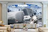 Wolipos 3D Wandmalerei Wand-Aufkleber Tapete Wandtattoo Ultra Hohe Stereoskopische Polar Eisbär Eisberg Hintergrund Luxus-Häuser Hd Dekoration 360Cmx230Cm