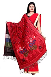 Rama Womens Woolen Printed Red & Black Winter Shawl