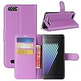 HualuBro Doogee X30 Hülle, Premium PU Leder Leather Wallet Handyhülle Tasche Schutzhülle Case Flip Cover mit Karten Slot für Doogee X30 5.5 Inch Smartphone (Violett)