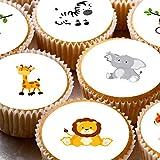 24Cupcake Fée pour gâteaux 4cm sur glaçage–Animaux de safari Jungle 1er anniversaire Nouveau bébé