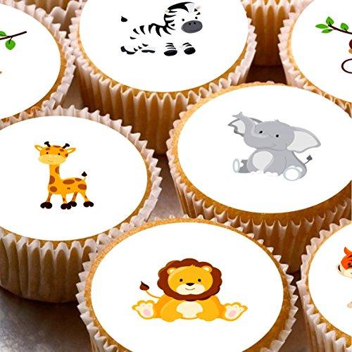 (24Cupcake Fairy Kuchen Topper 4cm auf Zuckerguss–Safari Tiere Dschungel 1. Geburtstag Baby)