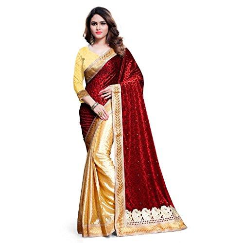 KAVVYA FASHION Women's Velvet Saree With Blouse Piece (Kavvyavlb09_Beige & Red)