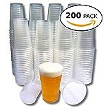 Eden Plastikbecher - Einweg Trinkbecher aus Bio-PP für Bier und Andere Kaltgetränke - 0,3 Liter Stabile Bierbecher - Becher ist ideal für Party, Camping, Geburtstag, usw. - 200 Pack
