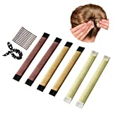 Haar Dutt maker, Duttkissen, Frisuren Hilfe, Magic Donut Hair Bun Maker Updo Tool [6 Stück] (Blond, Hellbraun, Braun)
