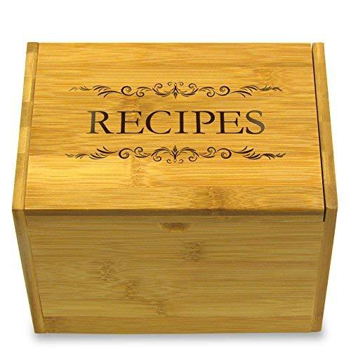 Rezepte Gedruckt Auf Deckel Bambus Rezept Box Option für 4x 6Karten-inkl. Trennwände (Box Rezept Card)