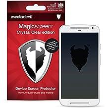"MediaDevil Motorola Moto G 2nd Generation (2014, 5"" Screen) Protector de Pantalla: Crystal Clear Transparente - (2 Protectores) - Magicscreen"