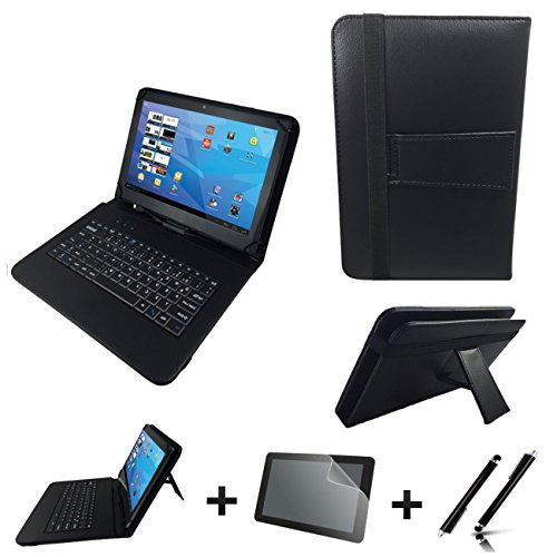 3in1 Starter Set für MEDION LIFETAB X10607 MD 60658 Deutsche Tablet Tastatur Hülle | Schutz Folie| Touch Pen | 10.1 Zoll Schwarz Keyboard TypC