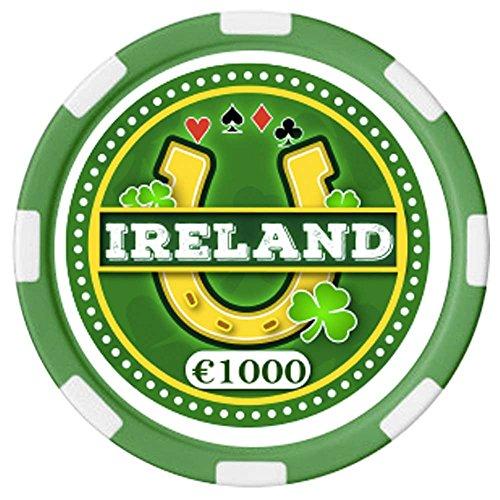 """Irischer Pokerchip mit Text """"Ireland"""" und Hufeisen-Design"""